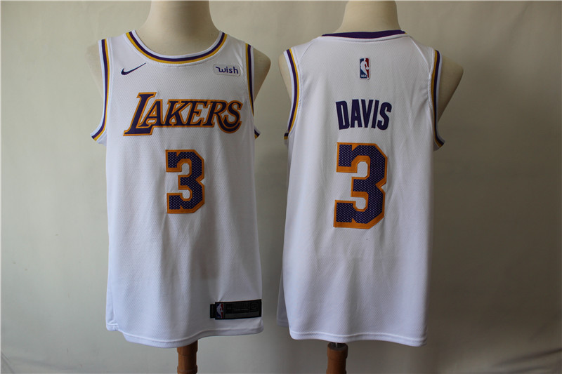 Men Los Angeles Lakers 3 Davis white Game Nike NBA Jerseys