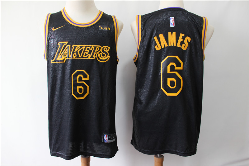 Men Los Angeles Lakers 6 James black game NBA Nike Jerseys