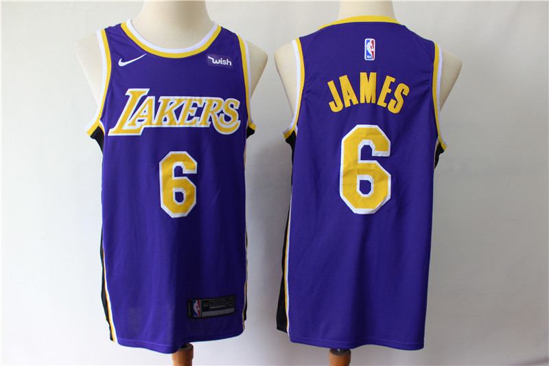 Men Los Angeles Lakers 6 James purple game NBA Nike Jerseys2