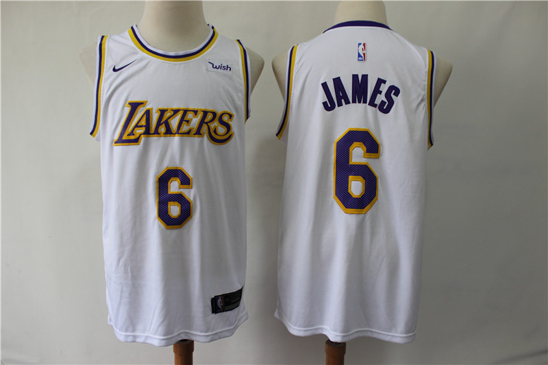 Men Los Angeles Lakers 6 James white game NBA Nike Jerseys