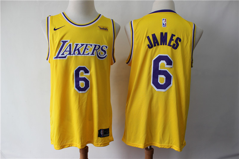 Men Los Angeles Lakers 6 James yellow game NBA Nike Jerseys