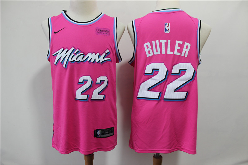 Men Miami Heat 22 Butler pink City Edition Game Nike NBA Jerseys