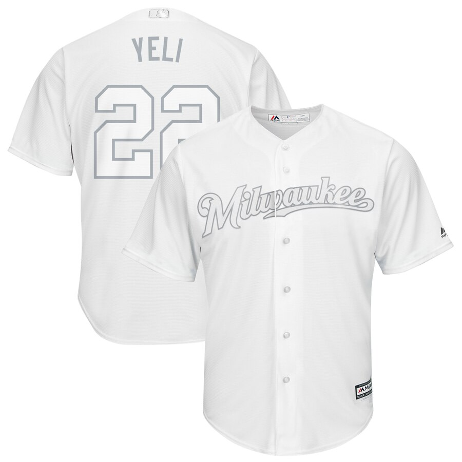 Men Milwaukee Brewers 22 Yeli white MLB Jerseys