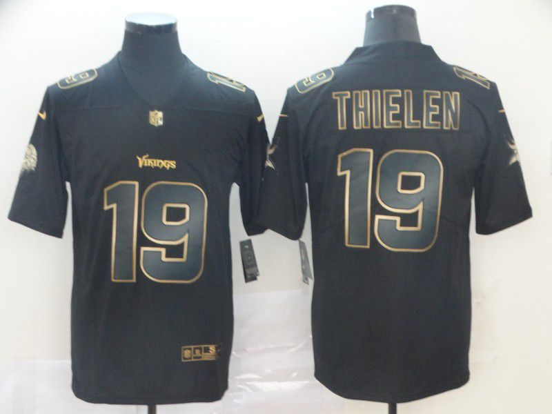 Men Minnesota Vikings 19 Thielen Nike Vapor Limited Black Golden NFL Jerseys