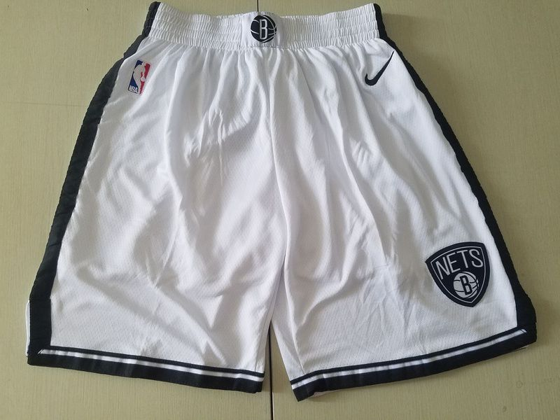 Men NBA Nike Brooklyn Nets white shorts