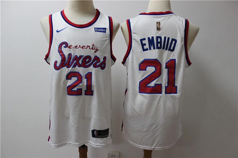 Men New NBA Philadelphia 76ers 21 Embiid White Throwback game Jerseys