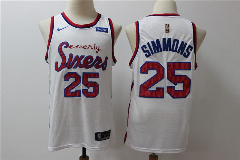 Men New NBA Philadelphia 76ers 25 Simmons White Throwback game Jerseys
