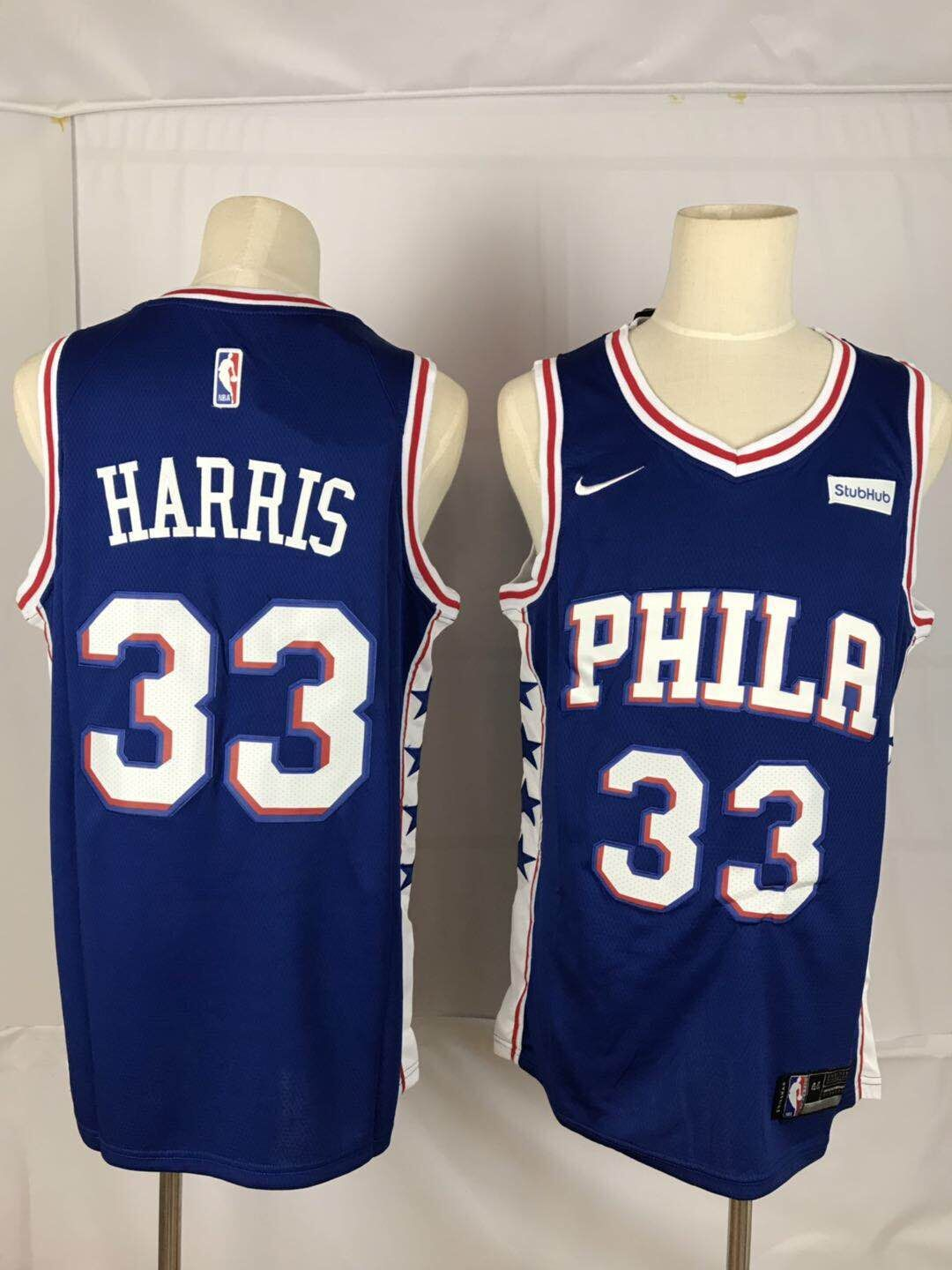 Men New NBA Philadelphia 76ers 33 Harris blue Nike Jerseys