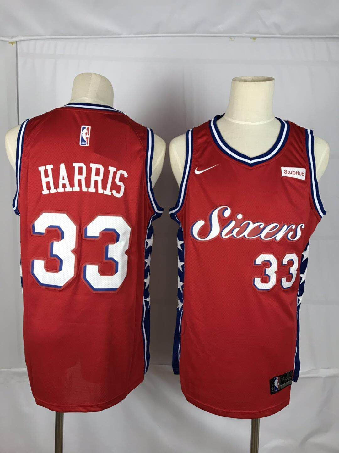 Men New NBA Philadelphia 76ers 33 Harris red Nike Jerseys
