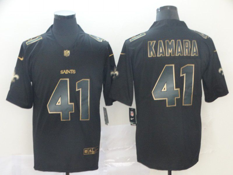Men New Orleans Saints 41 Kamara Nike Vapor Limited Black Golden NFL Jerseys