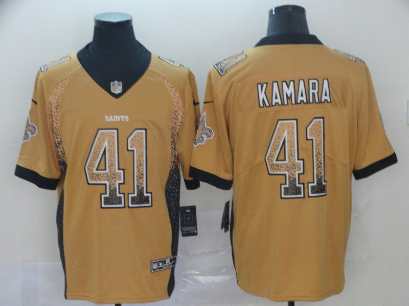 Men New Orleans Saints 41 Kamara Yellow Nike Drift Fashion Color Rush Limited NFL Jerseys