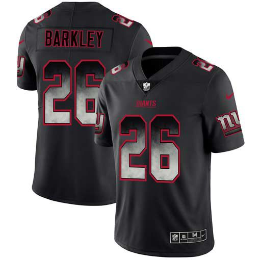 Men New York Giants 26 Barkley Nike Teams Black Smoke Fashion Limited NFL Jerseys