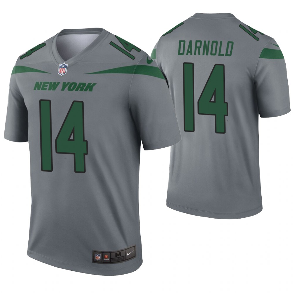 Men New York Jets 14 Darnold grey Nike Limited NFL Jerseys