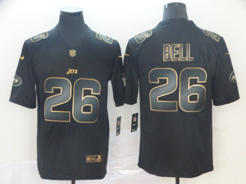 Men New York Jets 26 Bell Nike Vapor Limited Black Golden NFL Jerseys