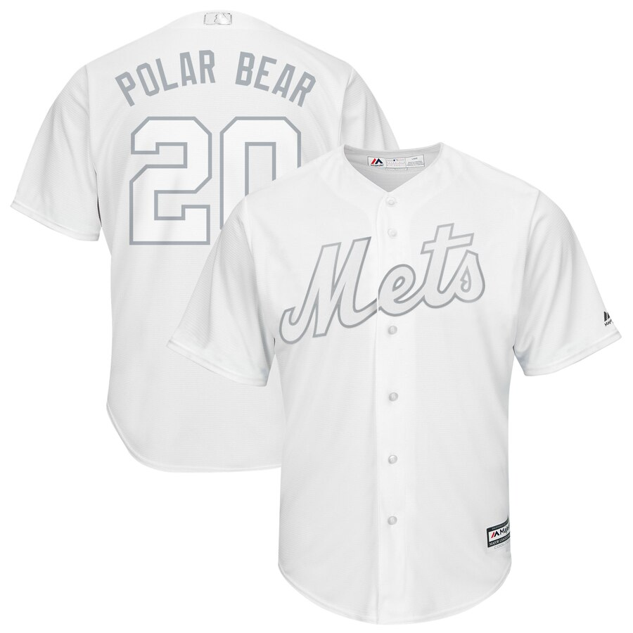 Men New York Mets 20 Polar bear white MLB Jerseys