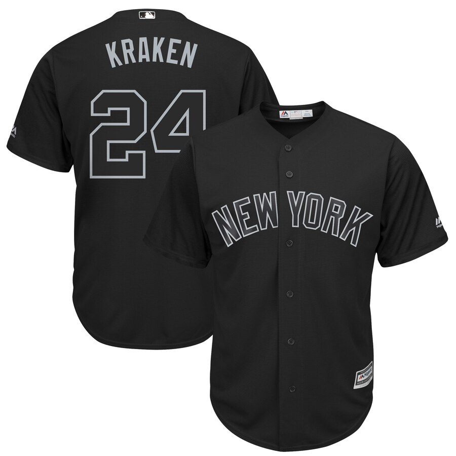 Men New York Mets 24 Kraken black MLB Jerseys