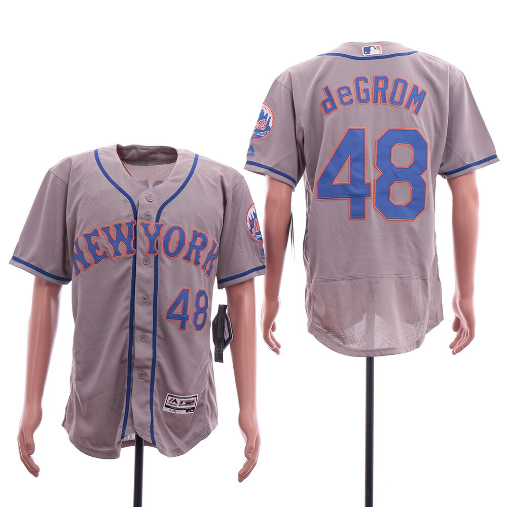 Men New York Mets 48 Degrom Grey MLB Jerseys