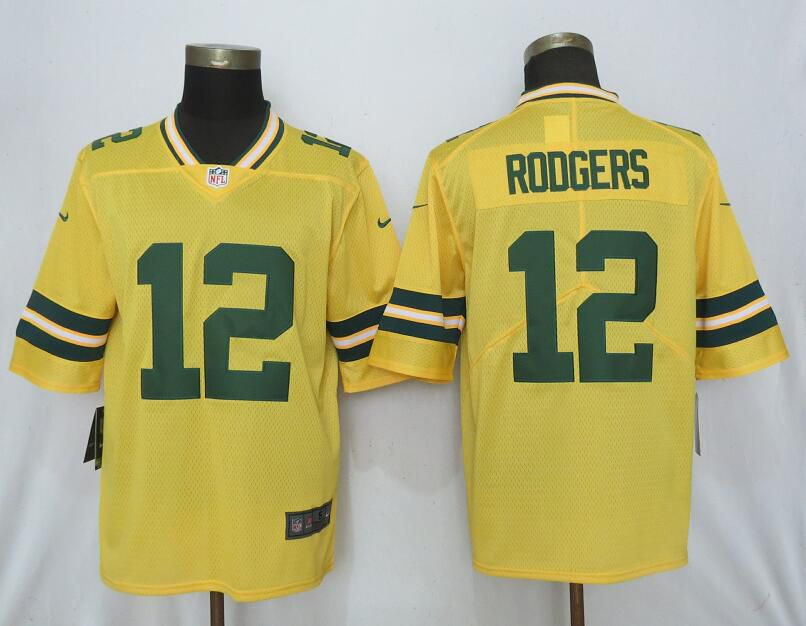 Men Nike Green Bay Packers 12 Rodgers 2019 Vapor Untouchable Gold Inverted Legend Limited Jersey