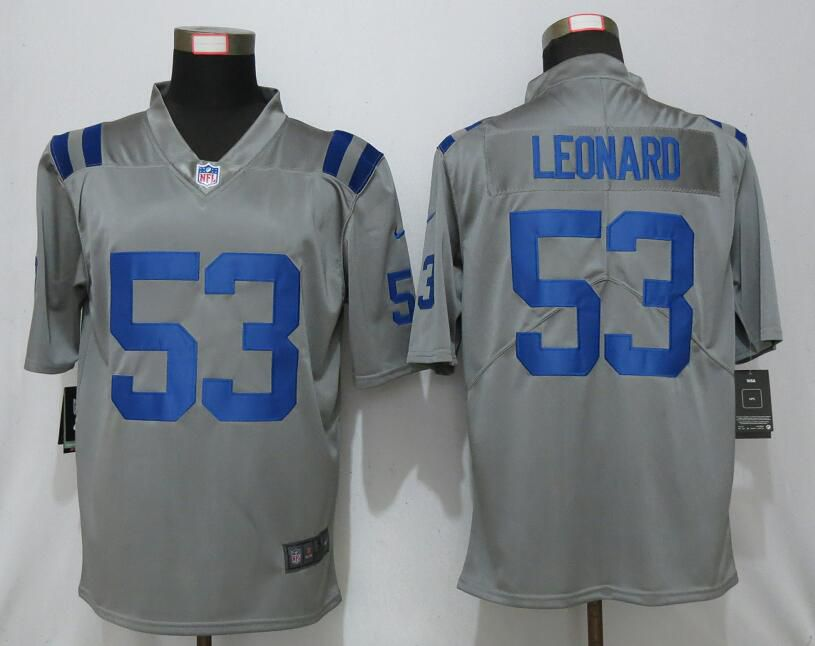 Men Nike Indianapolis Colts 53 Leonard 2019 Vapor Untouchable Gray Inverted Legend Limited Jersey