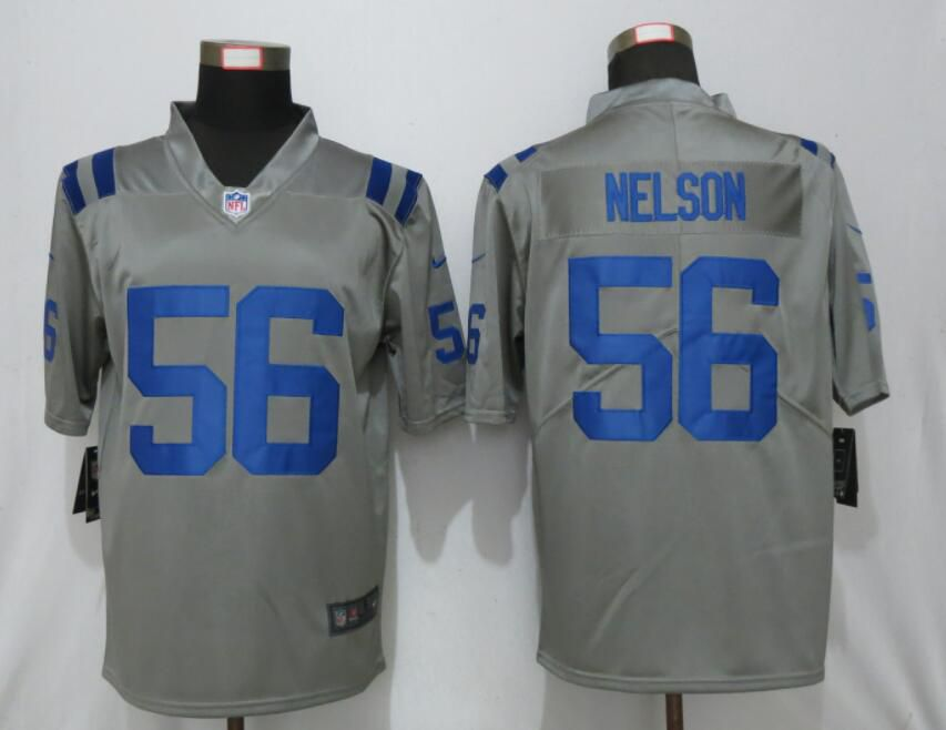 Men Nike Indianapolis Colts 56 Nelson 2019 Vapor Untouchable Gray Inverted Legend Limited Jersey