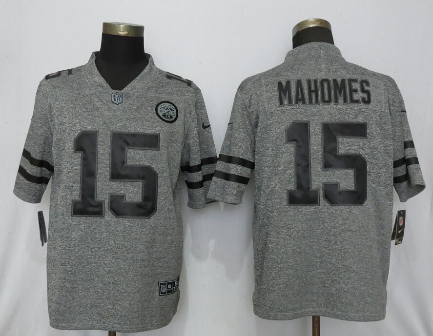Men Nike Kansas City Chiefs 15 Mahomes Gray 2019 Vapor Untouchable Gridiron Gray Limited jerseys