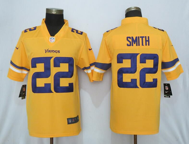 Men Nike Minnesota Vikings 22 Smith 2019 Vapor Untouchable Gold Inverted Legend Limited Jersey