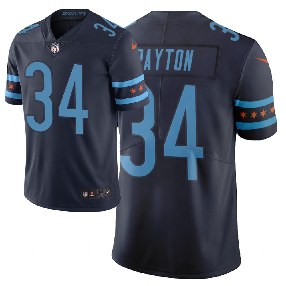 Men Nike NFL Chicago Bears 34 walter payton Limited city edition navy jersey