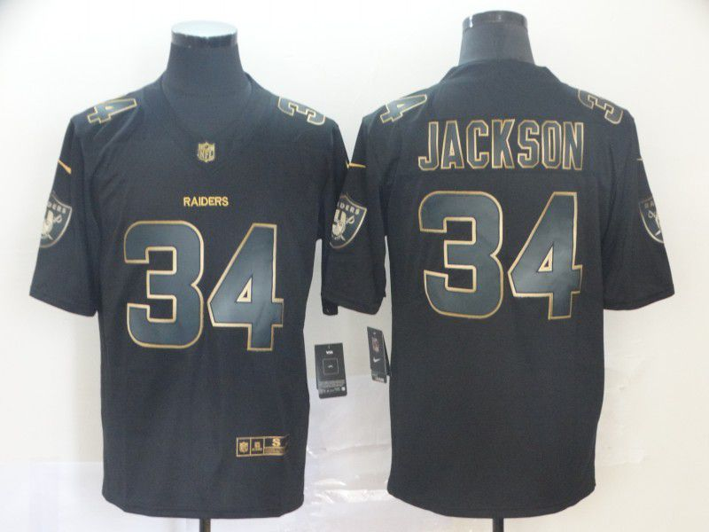 Men Oakland Raiders 34 Jackson Nike Vapor Limited Black Golden NFL Jerseys