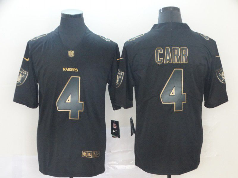 Men Oakland Raiders 4 Carr Nike Vapor Limited Black Golden NFL Jerseys