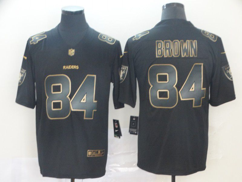 Men Oakland Raiders 84 Brown Nike Vapor Limited Black Golden NFL Jerseys