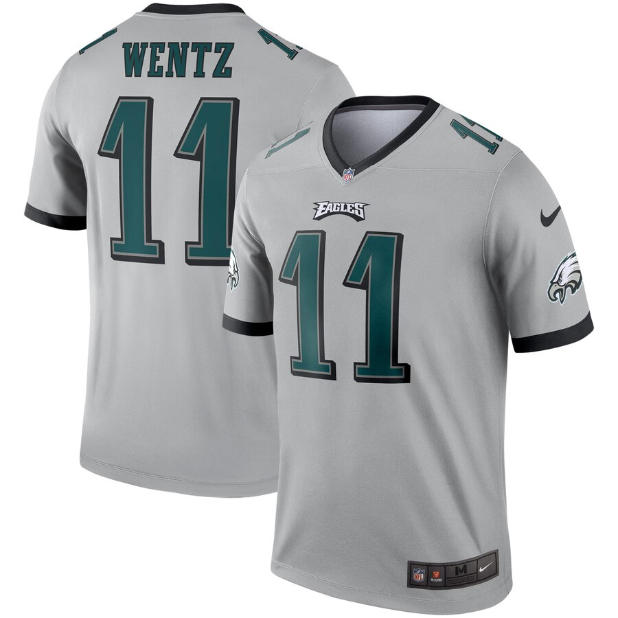 Men Philadelphia Eagles 11 Wentz Grey Nike Limited NFL Jerseys