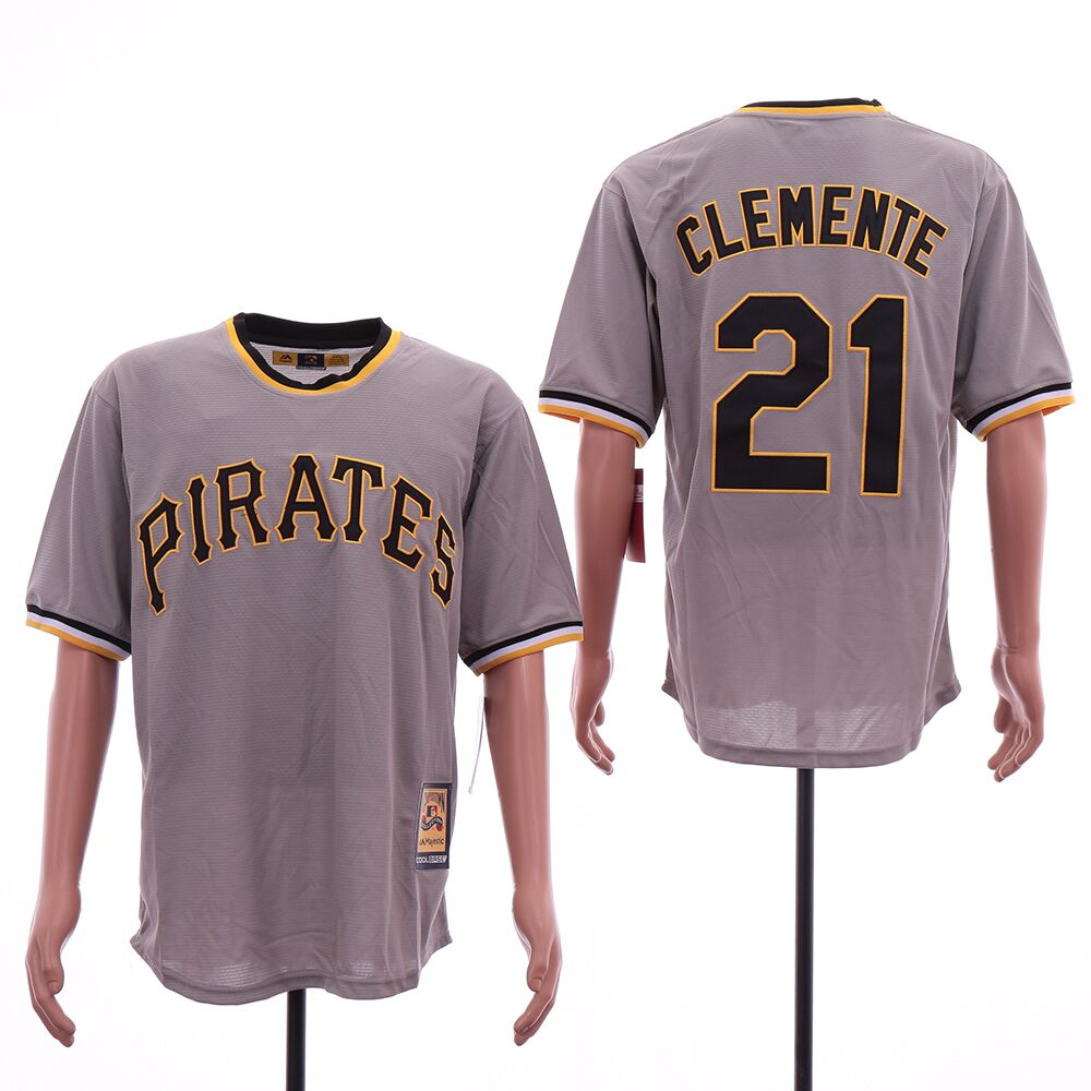Men Pittsburgh Pirates 21 Clemente Grey Throwback MLB Jerseys