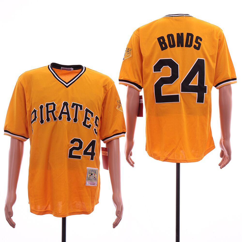 Men Pittsburgh Pirates 24 Bonds Yellow MLB Jerseys