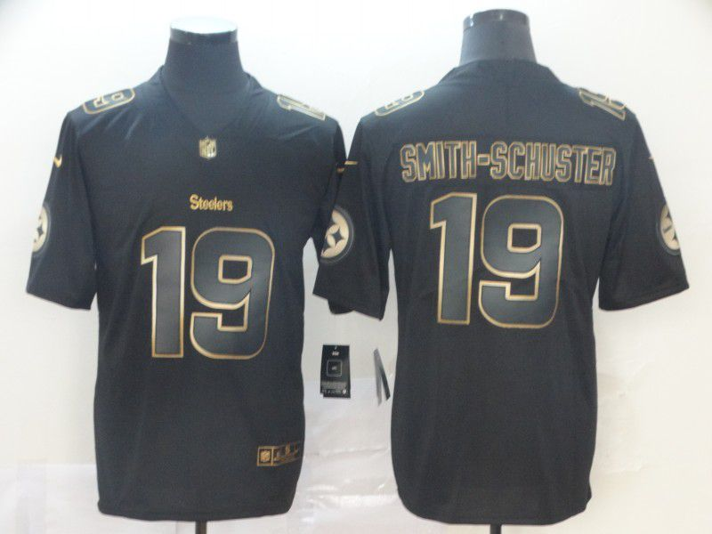 Men Pittsburgh Steelers 19 Smith-Schuster Nike Vapor Limited Black Golden NFL Jerseys