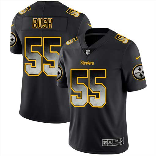 Men Pittsburgh Steelers 55 Bush Nike Teams Black Smoke Fashion Limited NFL Jerseys