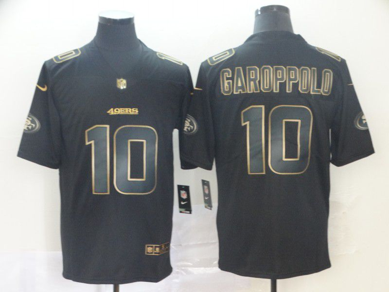 Men San Francisco 49ers 10 Garoppolo Nike Vapor Limited Black Golden NFL Jerseys