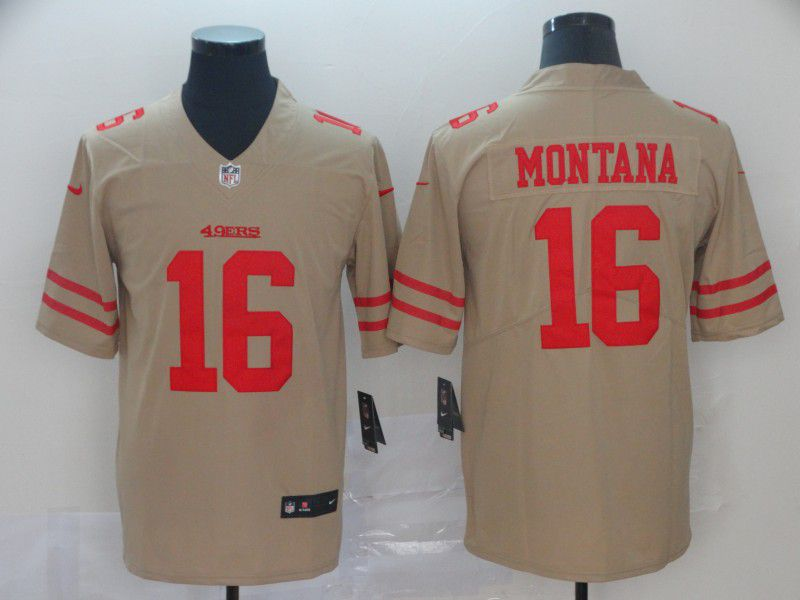 Men San Francisco 49ers 16 Montana 2019 Vapor Untouchable Nike Yellow Inverted Legend NFL Jerseys