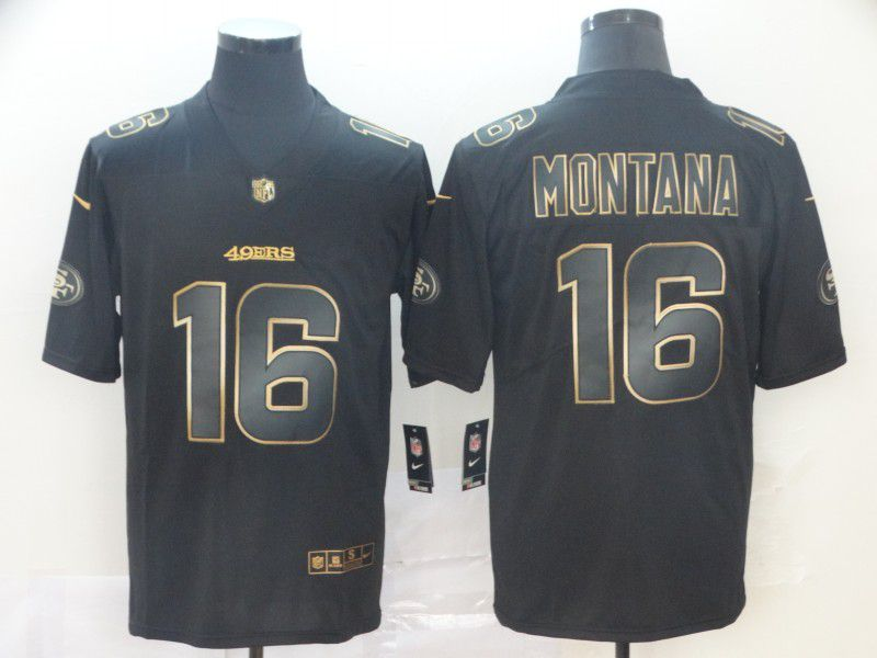 Men San Francisco 49ers 16 Montana Nike Vapor Limited Black Golden NFL Jerseys