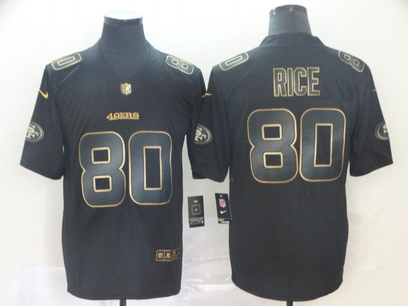 Men San Francisco 49ers 80 Rice Nike Vapor Limited Black Golden NFL Jerseys