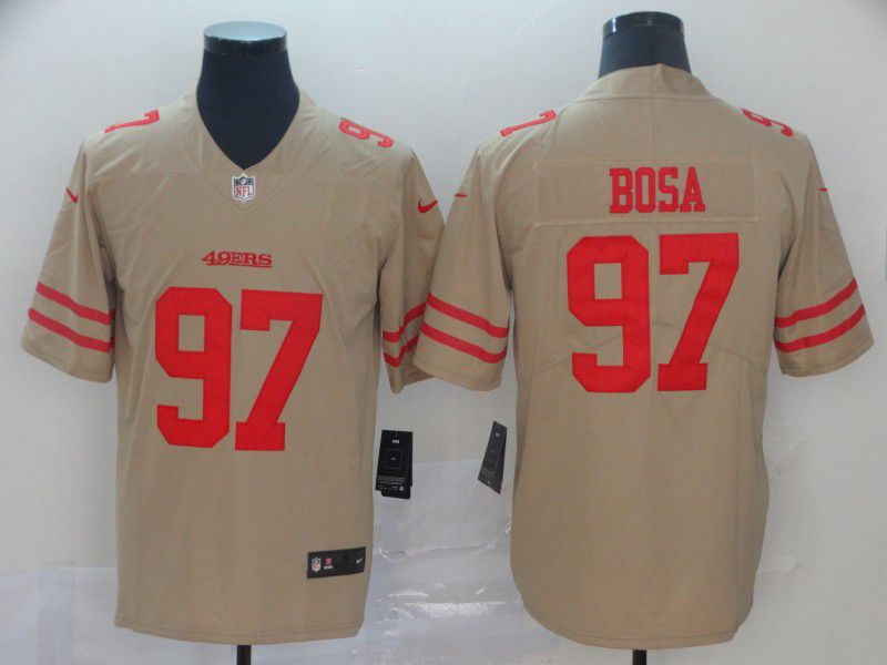 Men San Francisco 49ers 97 Bosa 2019 Vapor Untouchable Nike Yellow Inverted Legend NFL Jerseys