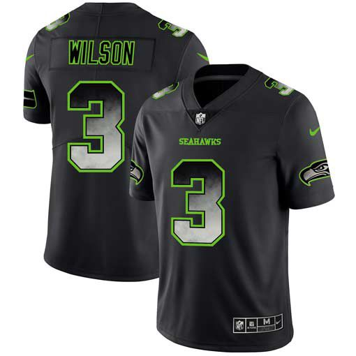 Men Seattle Seahawks 3 Wilson Nike Teams Black Smoke Fashion Limited NFL Jerseys