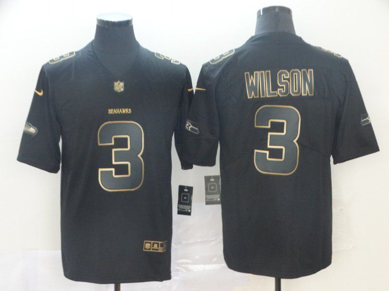 Men Seattle Seahawks 3 Wilson Nike Vapor Limited Black Golden NFL Jerseys