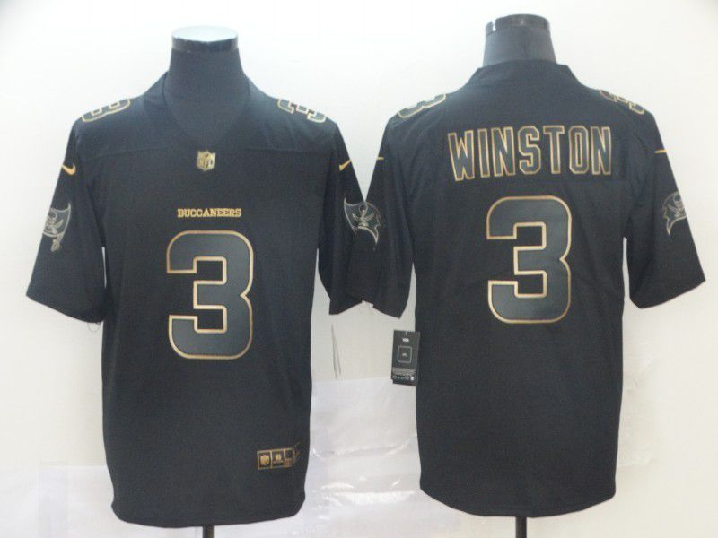 Men Tampa Bay Buccaneers 3 Winston Nike Vapor Limited Black Golden NFL Jerseys