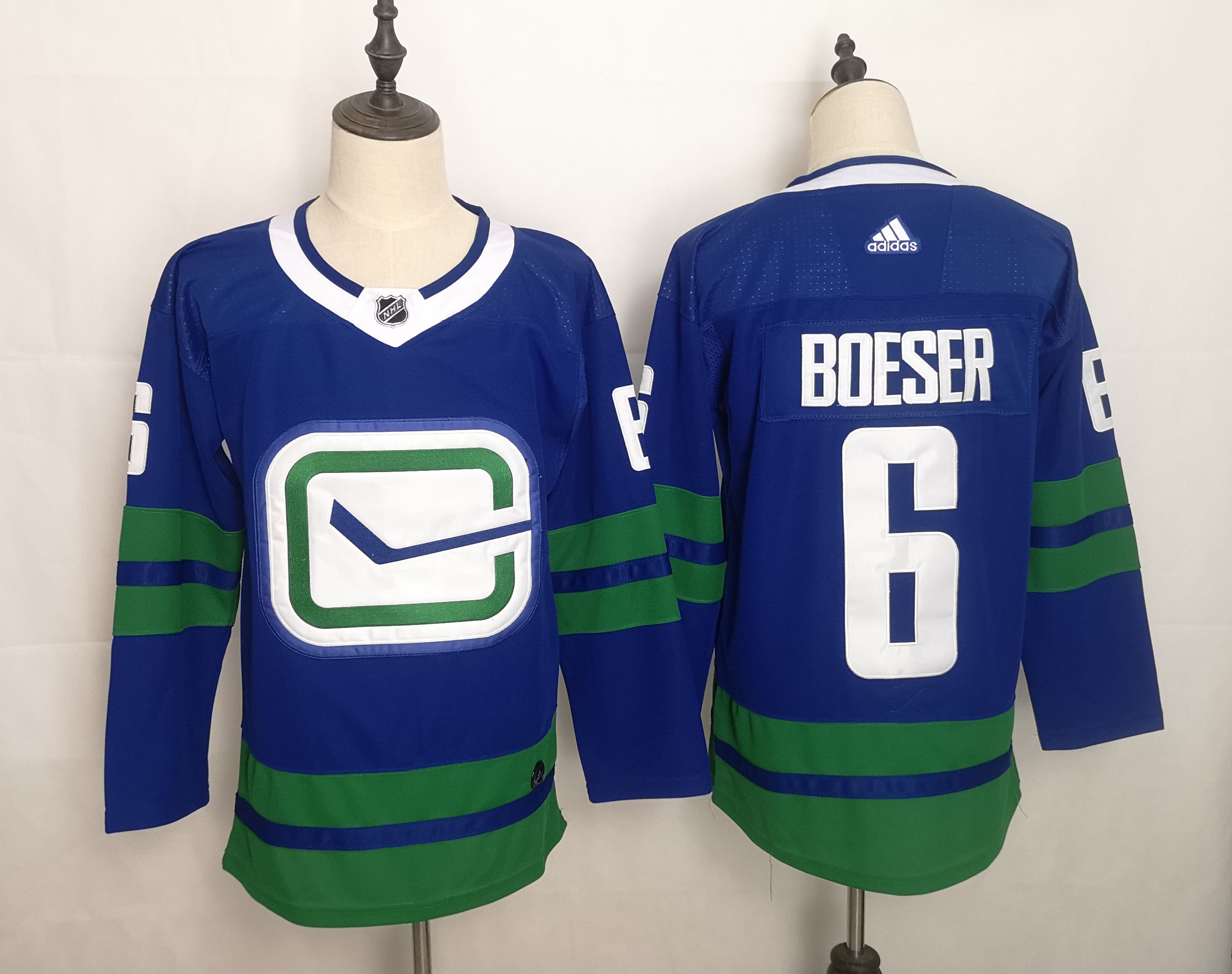 Men Vancouver Canucks 6 Brock Boeser Blue Home Authentic Stitched Adidas NHL Jersey