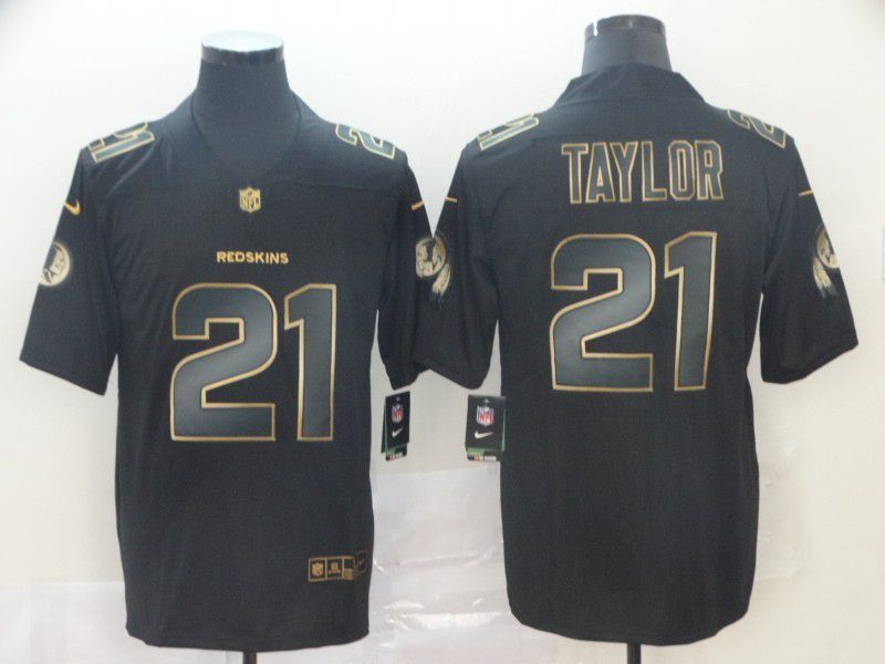 Men Washington Red Skins 21 Taylor Nike Vapor Limited Black Golden NFL Jerseys