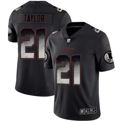 Men Washington Redskins 21 Taylor Nike Teams Black Smoke Fashion Limited NFL Jerseys