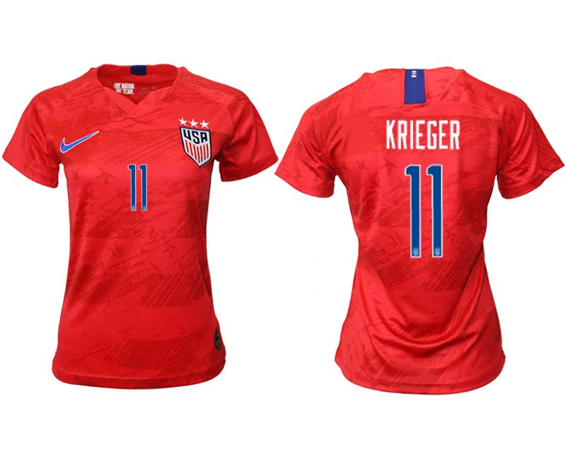 Women 2019-2020 Season National Team America away aaa 11 red Soccer Jerseys