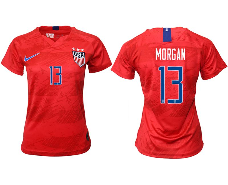 Women 2019-2020 Season National Team America away aaa 13 red Soccer Jerseys