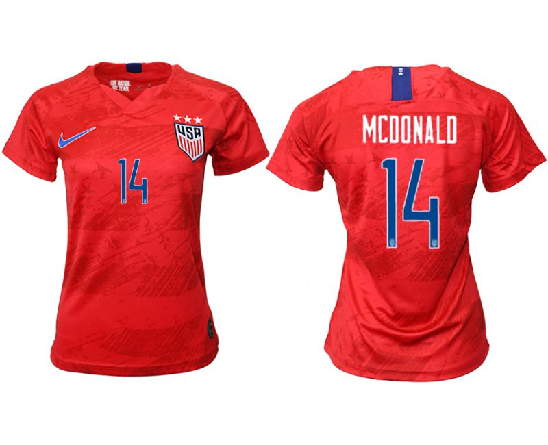 Women 2019-2020 Season National Team America away aaa 14 red Soccer Jerseys