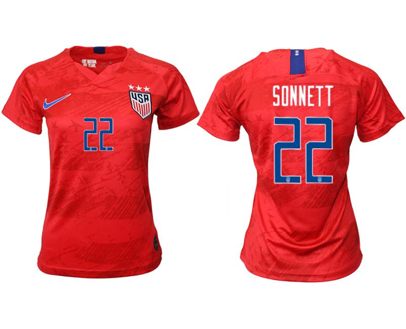 Women 2019-2020 Season National Team America away aaa 22 red Soccer Jerseys